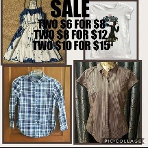 SALE. 2 $6 items, $8. 2 $8, $12. 2 $10, $15.